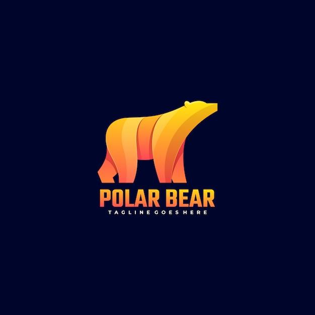 Logo illustration polar bear gradient colorful style. Vetor Premium