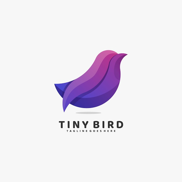 Logo illustration tiny bird gradient colorful style. Vetor Premium