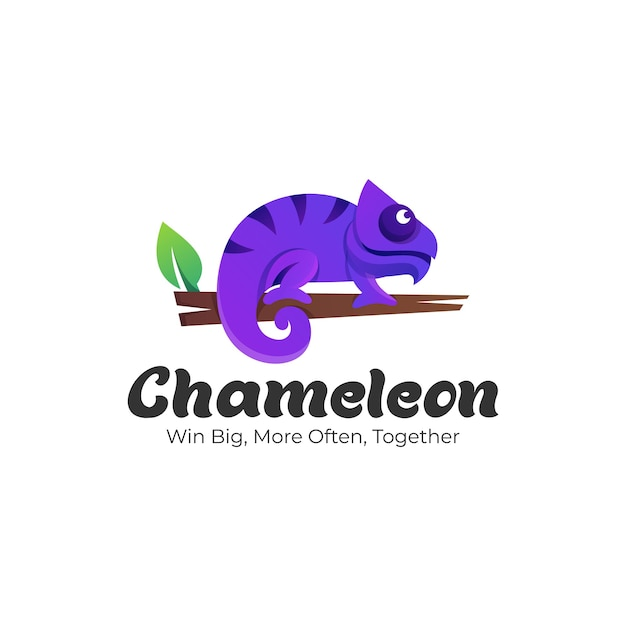 Logo ilustração chameleon gradient colorful style. Vetor Premium