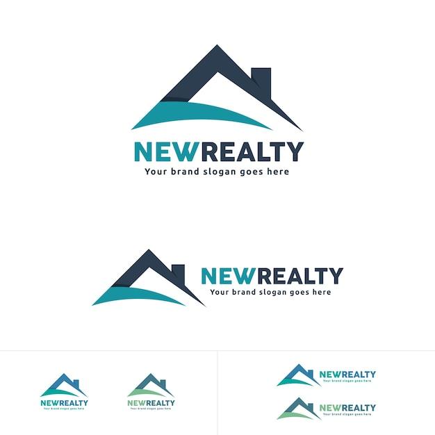 Logo imobiliário, símbolo do telhado da casa, marca residencial Vetor Premium