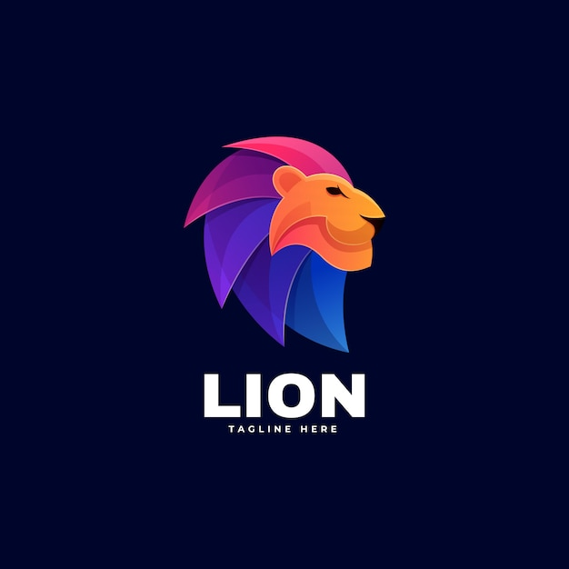 Logo lion gradient colorful style. Vetor Premium