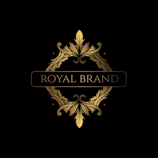Logo luxury com cor dourada Vetor Premium
