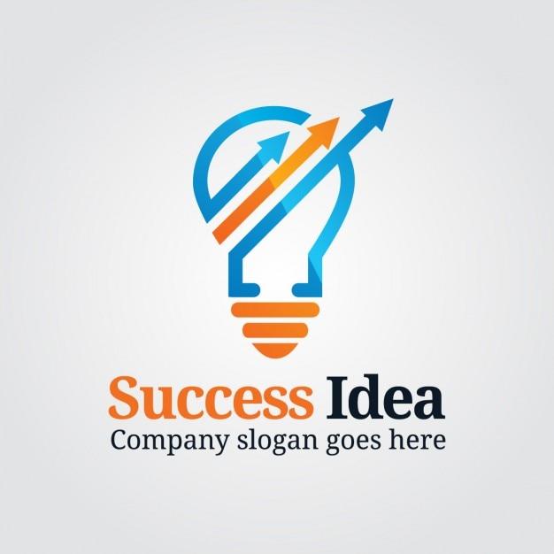 Logo marketing com bulb Vetor grátis