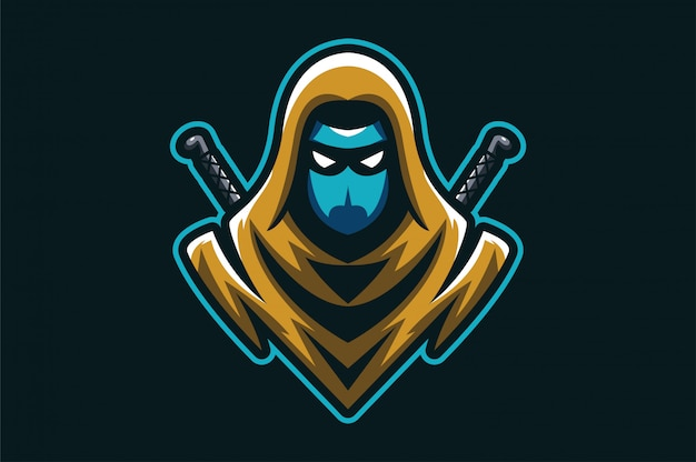 Logo ninja assasin Vetor Premium