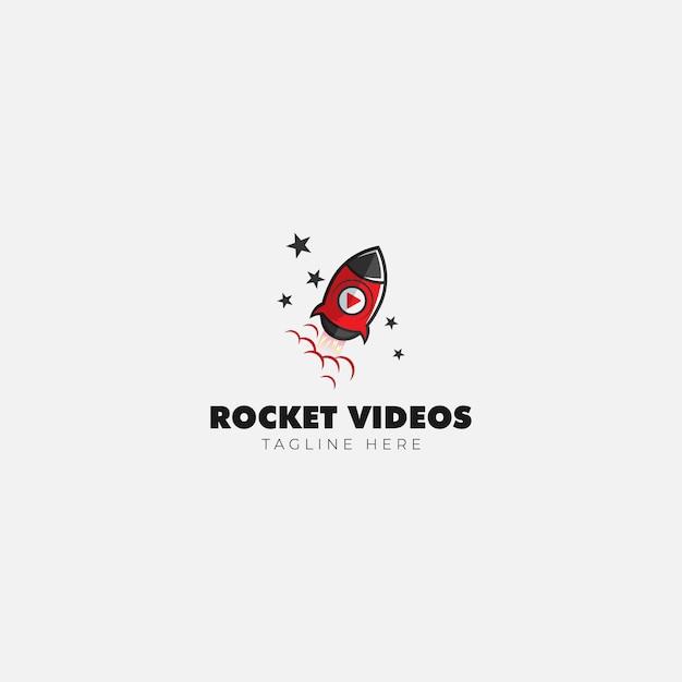 Logomarca de rocket video and media Vetor Premium