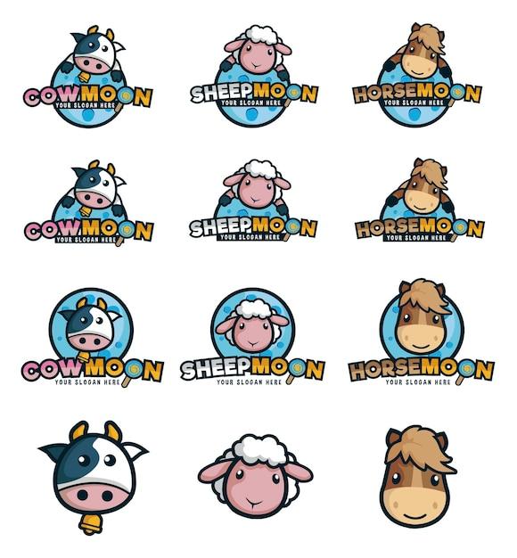 Logomarca para criação de animais com vaca, ovelha e cavalo como mascote Vetor Premium