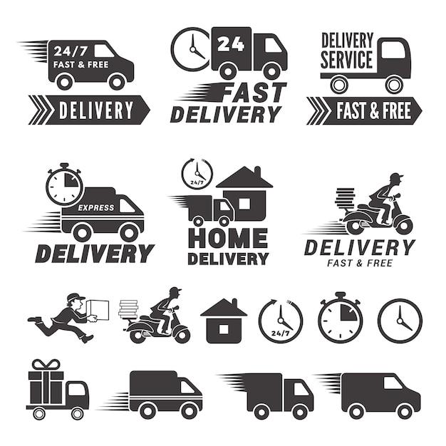 Logos conjunto de serviço de entrega rápida. Vetor Premium
