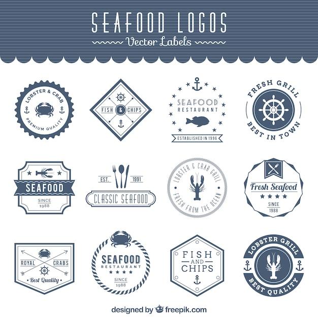 Logos de frutos do mar Vetor Premium
