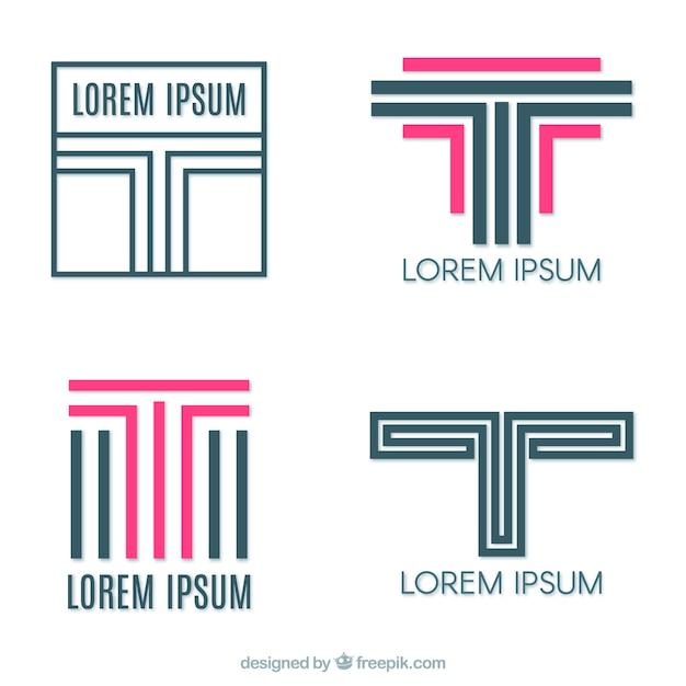 Logos de linhas com a letra