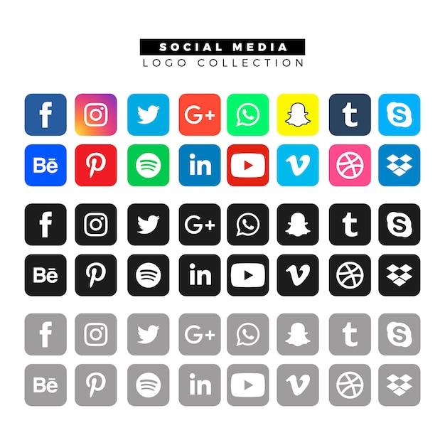 Logos de mídia social em cores diferentes Vetor grátis