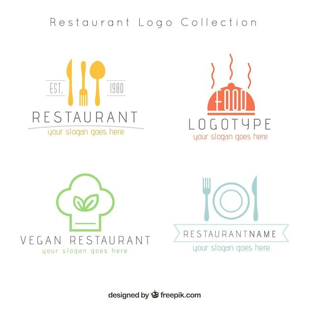 Logos de restaurantes modernos Vetor grátis