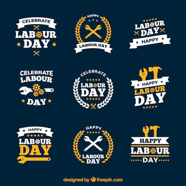 Logos do dia do trabalho Vetor grátis