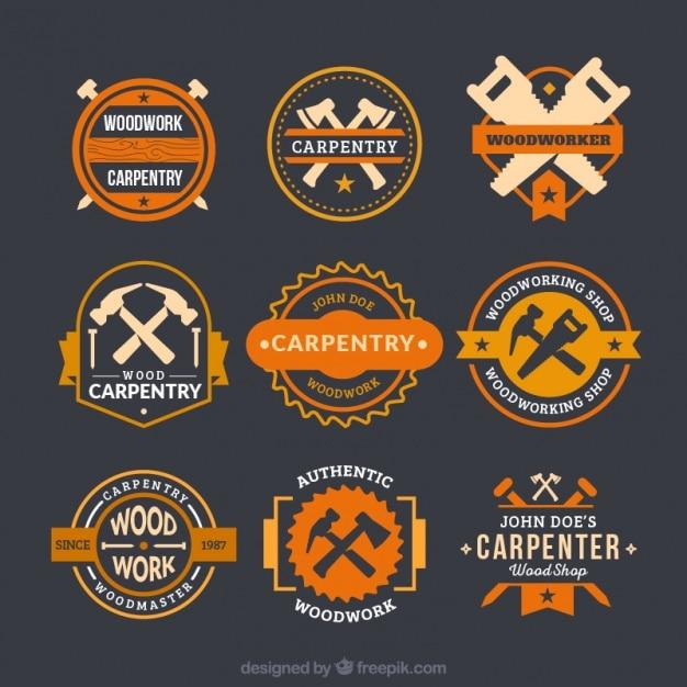 Logos fantásticos para carpintaria Vetor grátis