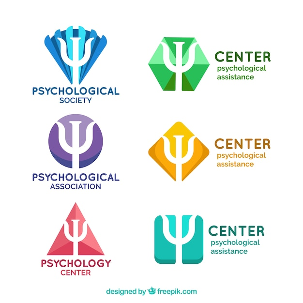 Logos fantásticos para centros psicológicos Vetor grátis