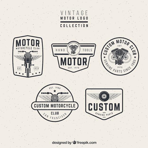 Logos motor do vintage Vetor grátis