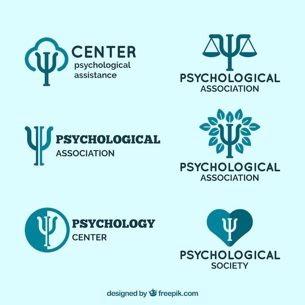 Logos para centros psicológicos em tons azuis Vetor Premium