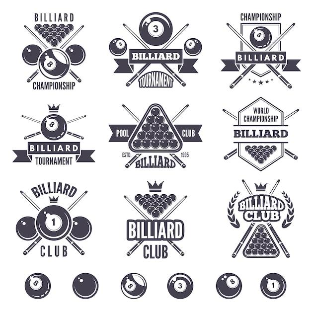 Logos para clube de bilhar Vetor Premium