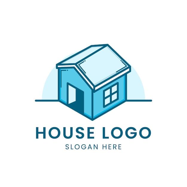 Logotipo 3d da casa azul em branco Vetor Premium