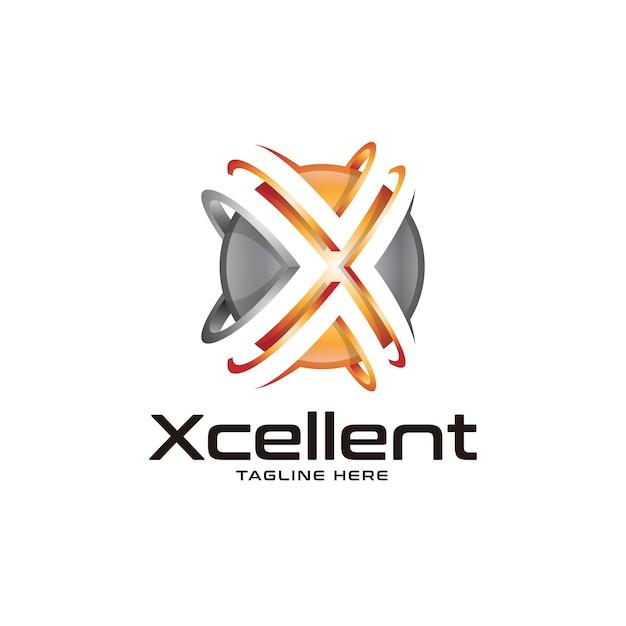 Logotipo 3d esfera e letra x Vetor Premium