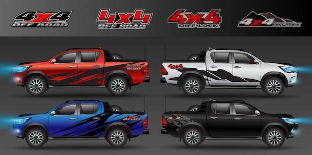 Logotipo 4x4 para gráfico de caminhão e carro com tração nas quatro rodas. design para envoltório de vinil de veículo Vetor Premium