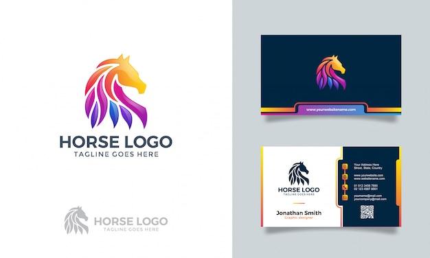 Logotipo abstrato colorido do cavalo com cartão Vetor Premium