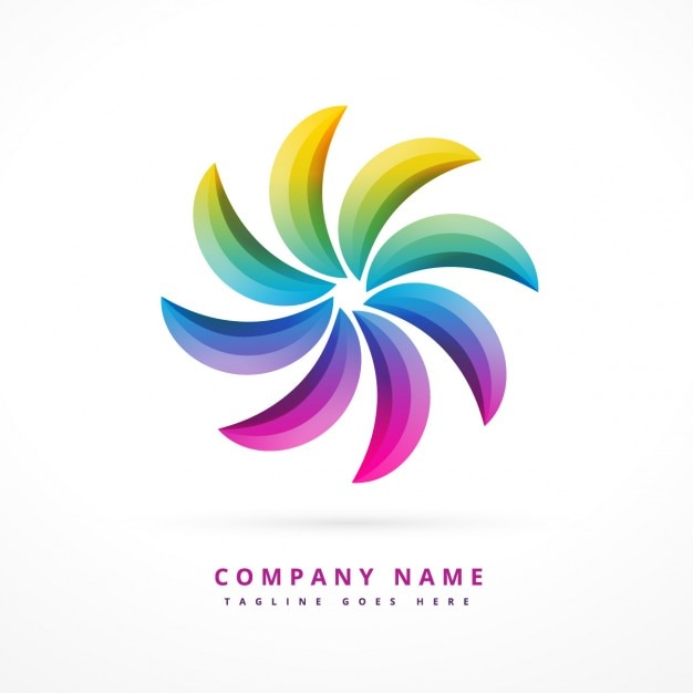 Logotipo abstrato com cores do arco íris Vetor grátis