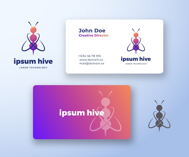 Logotipo abstrato da tecnologia hive e modelo de cartão de visita. Vetor Premium