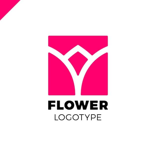 Logotipo abstrato da tulipa da flor no design quadrado do ícone do vetor. símbolo premium linear elegante. Vetor Premium