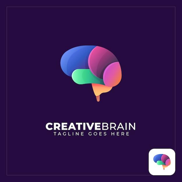 Logotipo abstrato de cérebro colorido Vetor Premium