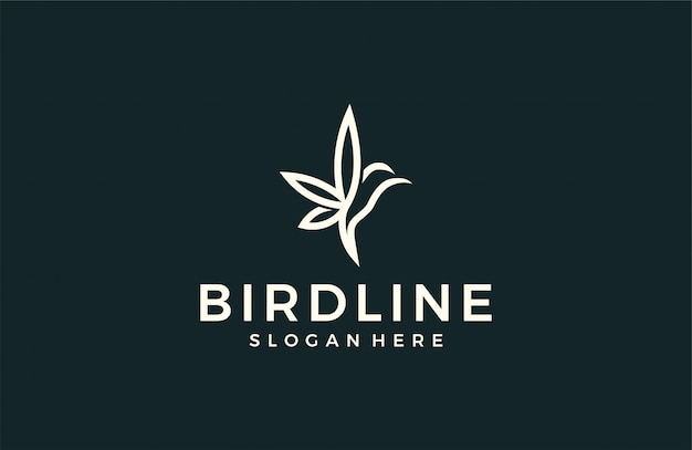 Logotipo abstrato de pássaro moderno Vetor Premium