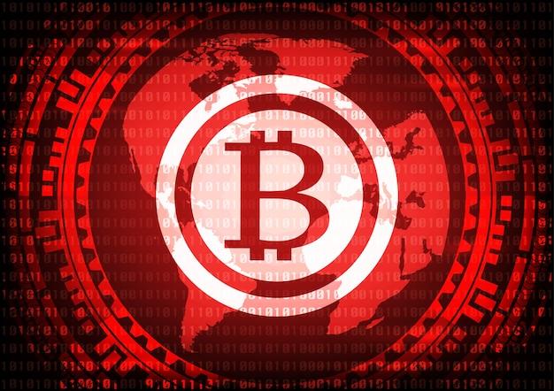 Logotipo abstrato dos bitcoins da tecnologia no código binário. Vetor Premium