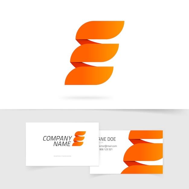 Logotipo abstrato elegante letra e laranja em fundo branco em estilo fogo Vetor Premium
