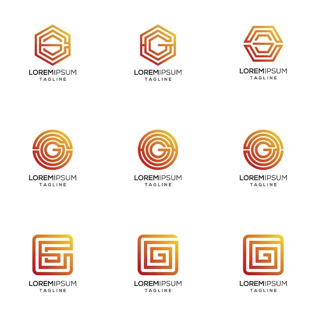 Logotipo abstrato letra g com cor gradiant Vetor Premium