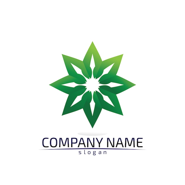 Logotipo amigável da árvore folha eco Vetor Premium
