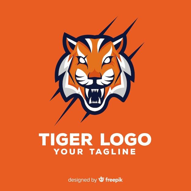 Logotipo assustador do tigre Vetor grátis