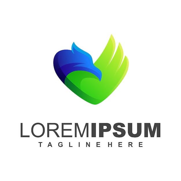Logotipo azul e verde do pássaro Vetor Premium