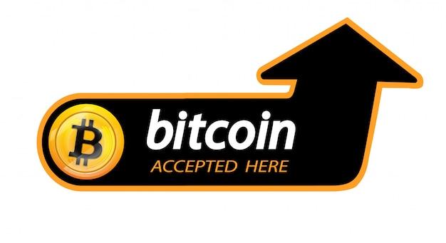 Logotipo bitcoin da moeda criptografada com uma inscrição aceita aqui Vetor Premium