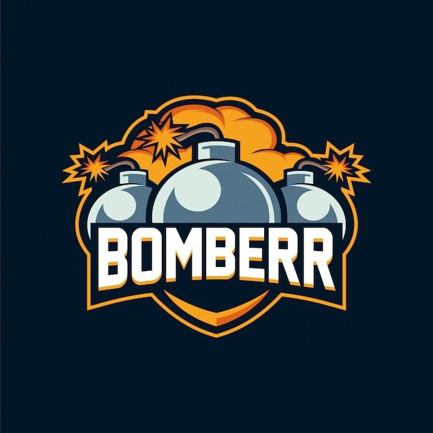 Logotipo bomberr esport Vetor Premium