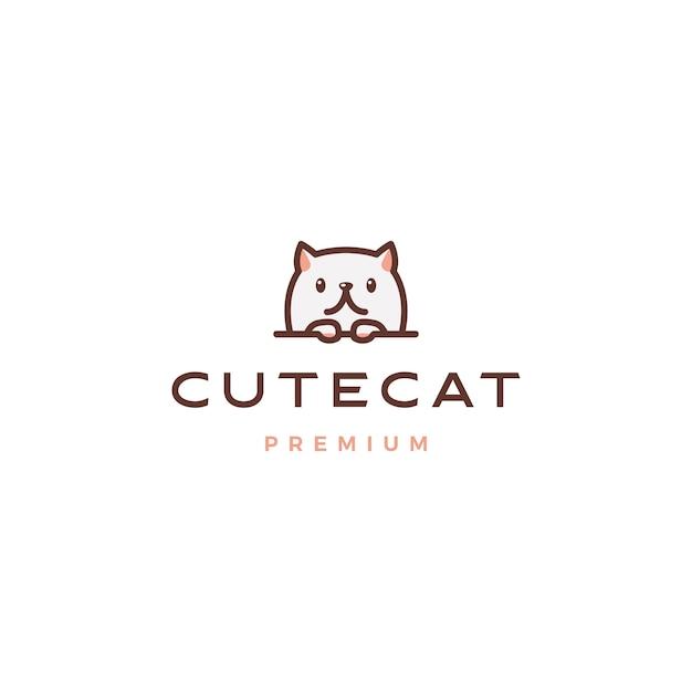 Logotipo bonito gato Vetor Premium