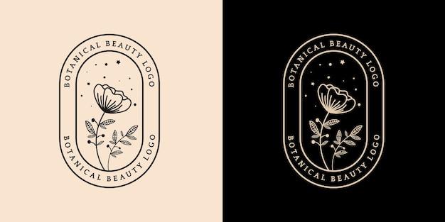 Logotipo botânico floral e feminino desenhado à mão, adequado para spa, pele, cabelo, beleza, boutique Vetor Premium