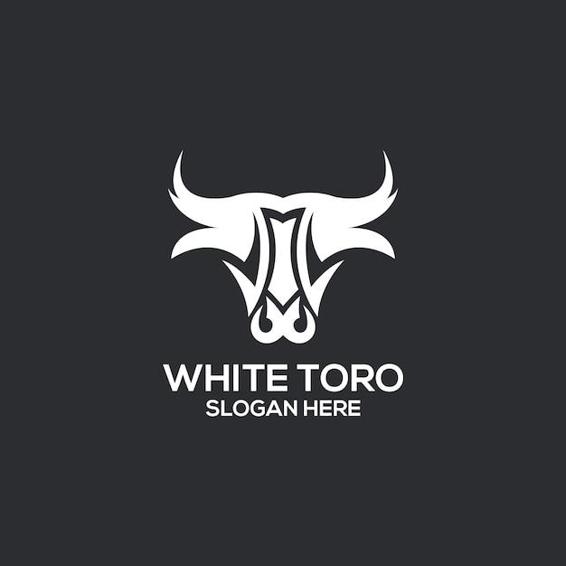 Logotipo branco toro Vetor Premium