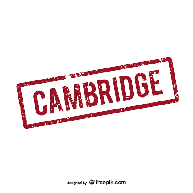 Logotipo carimbo de borracha cambridge Vetor Premium