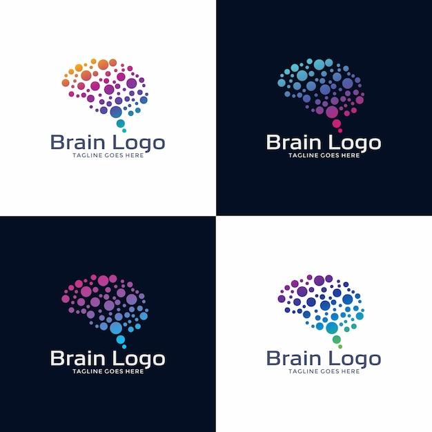 Logotipo cerebral logo Vetor Premium