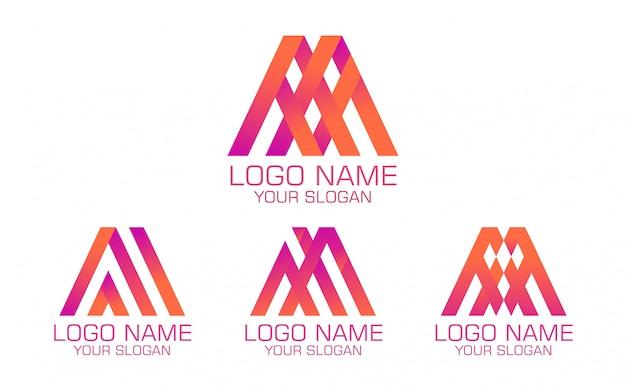 Logotipo colorido abstrato em quatro versões Vetor Premium