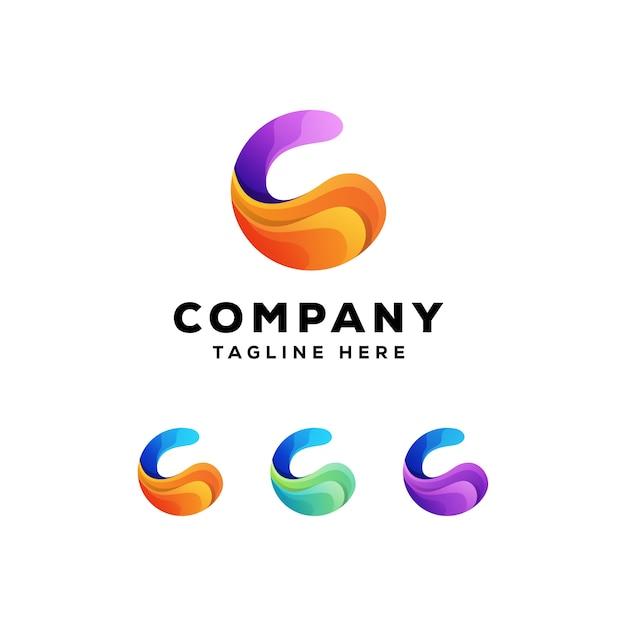 Logotipo colorido abstrato letra c Vetor Premium