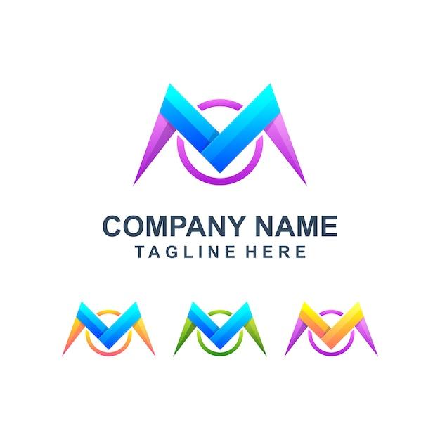 Logotipo colorido abstrato letra m Vetor Premium