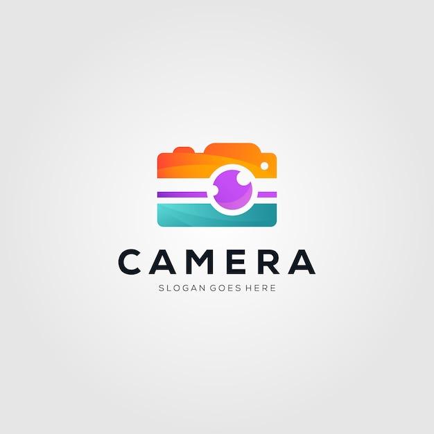 Logotipo colorido da fotografia da câmera Vetor Premium