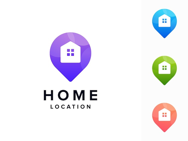 Logotipo colorido da localização de casa Vetor Premium