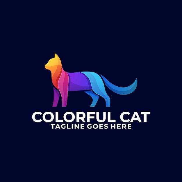 Logotipo colorido de gato Vetor Premium