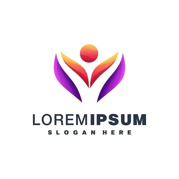 Logotipo colorido de pessoas abstratas Vetor Premium